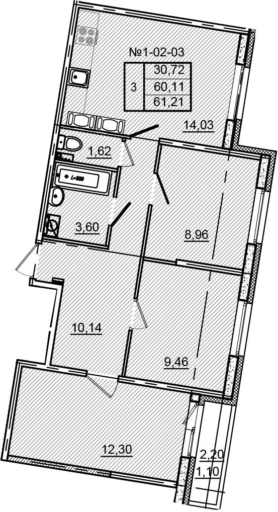 3-к.кв, 62.31 м²