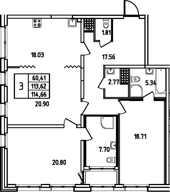 4Е-к.кв, 114.66 м², 12 этаж