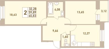 2-к.кв, 63.01 м²