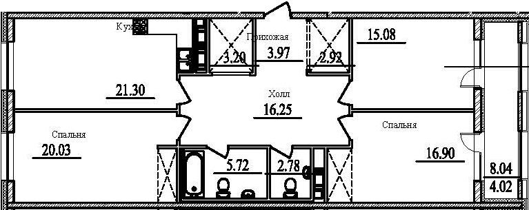 3-к.кв, 116.19 м²