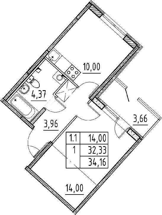 1-к.кв, 32.33 м², 1 этаж