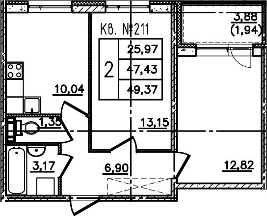2-к.кв, 51.31 м²