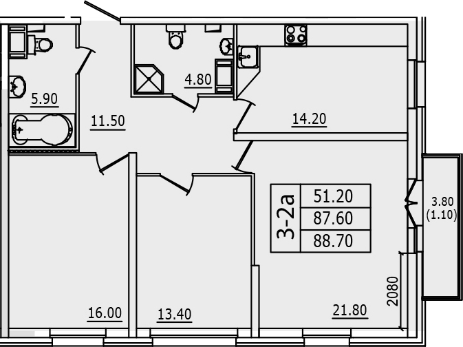 3-к.кв, 88.7 м², 10 этаж