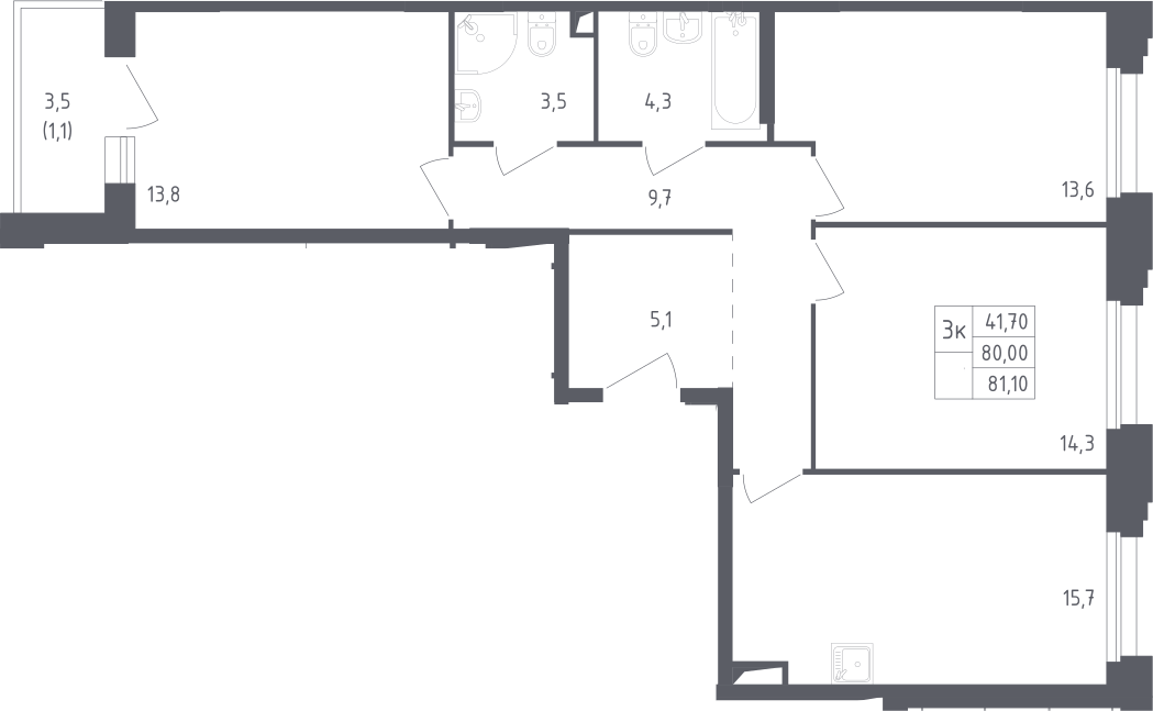 4Е-к.кв, 81.1 м²