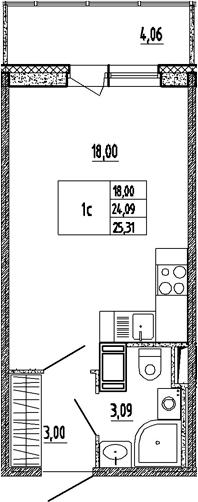 Студия, 24.09 м², 9 этаж