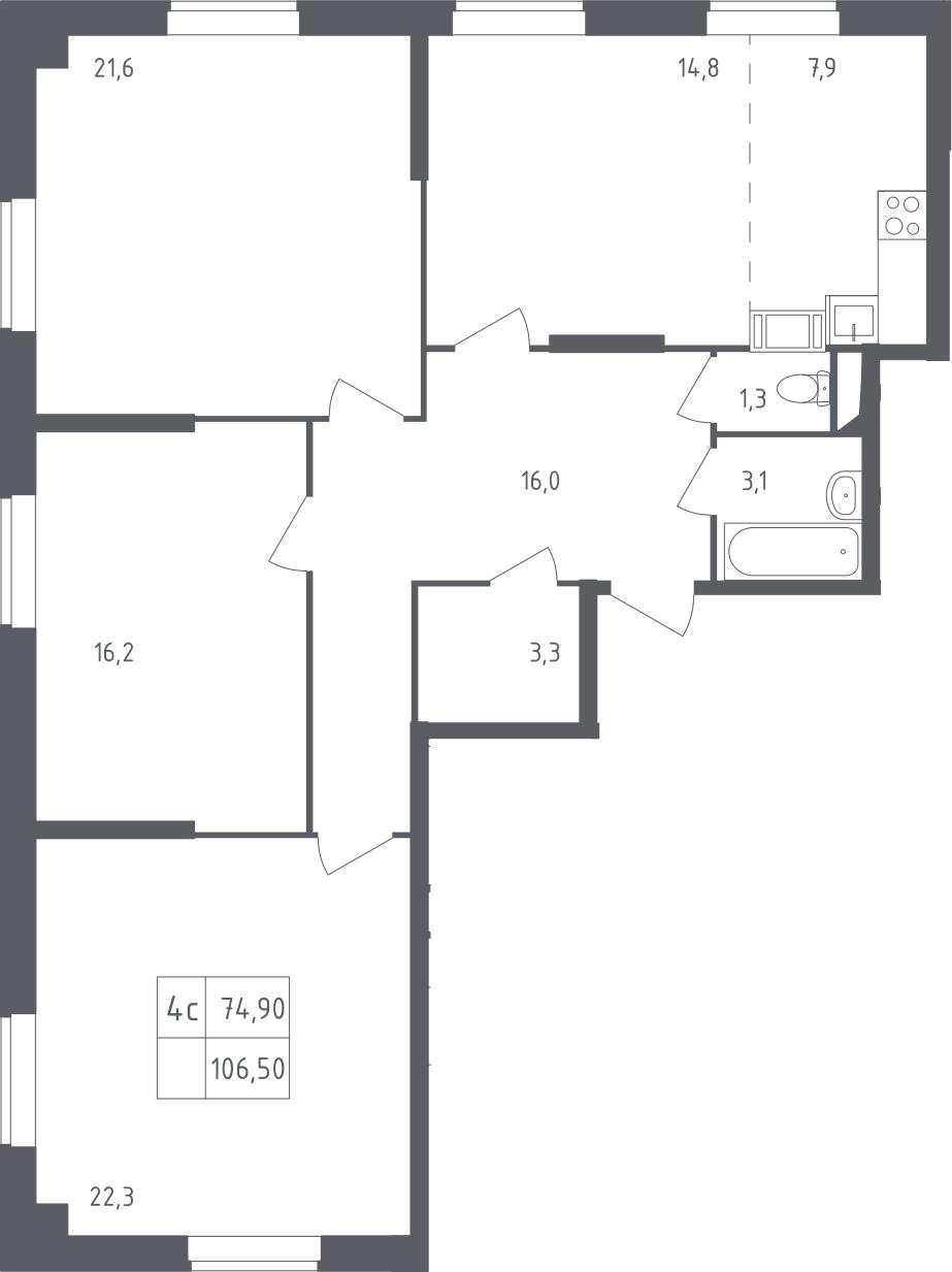 4-к.кв (евро), 106.5 м²