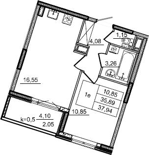 2Е-к.кв, 37.94 м², от 3 этажа
