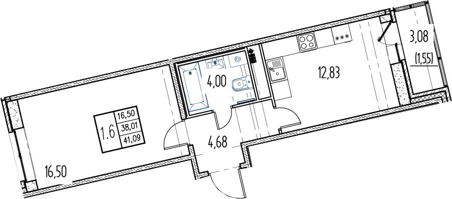 1-комнатная, 38.01 м²– 2