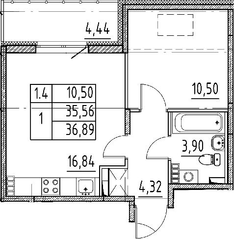 2Е-к.кв, 35.56 м², 5 этаж