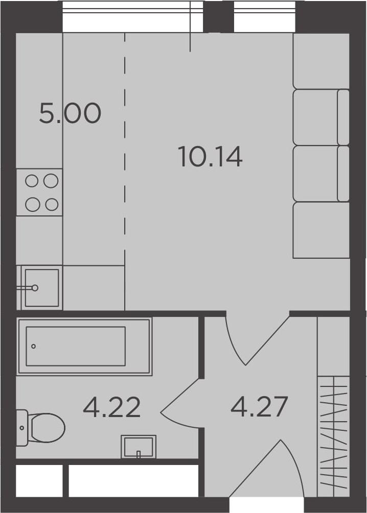 Студия, 23.63 м²