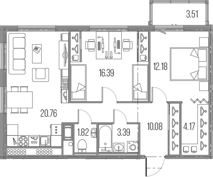 3Е-комнатная, 68.79 м²– 2