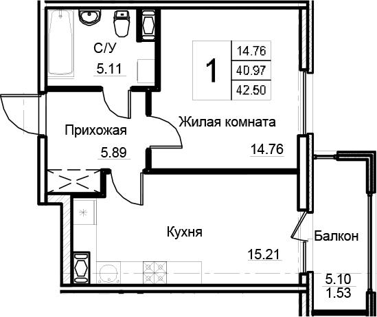 2-к.кв (евро), 46.07 м²