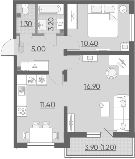 2-к.кв, 49.4 м²