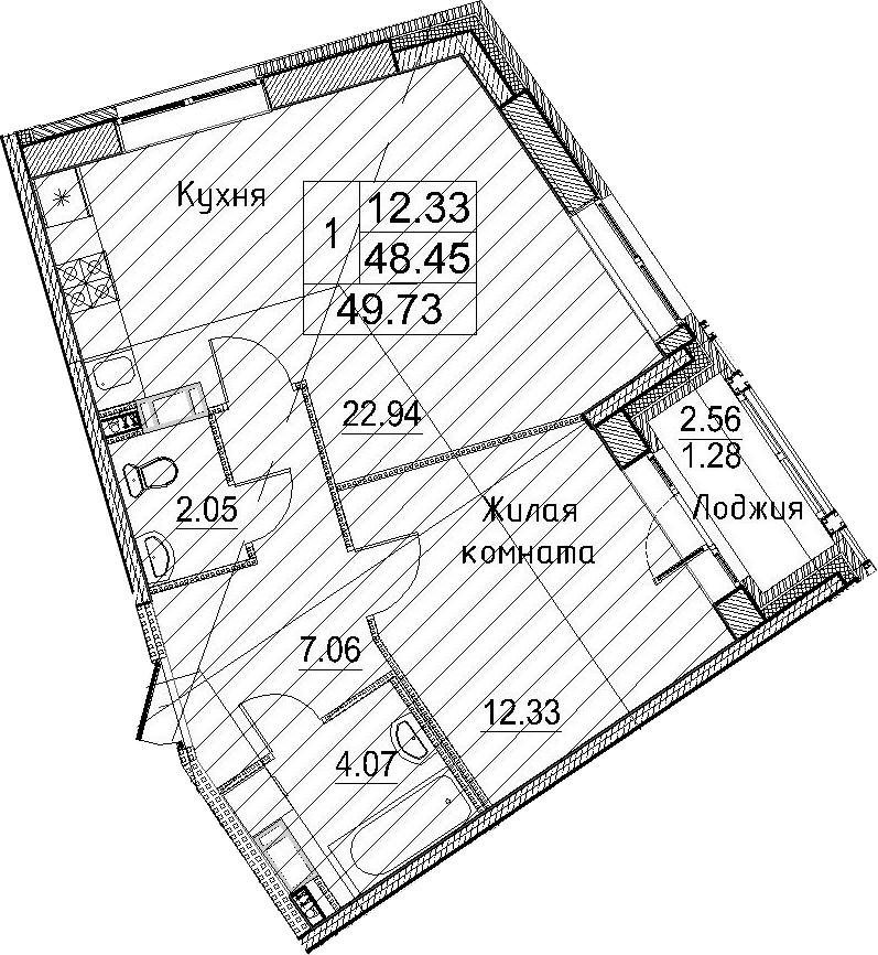 1-к.кв, 51.01 м²