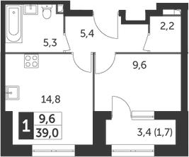 1-к.кв, 39 м², 2 этаж
