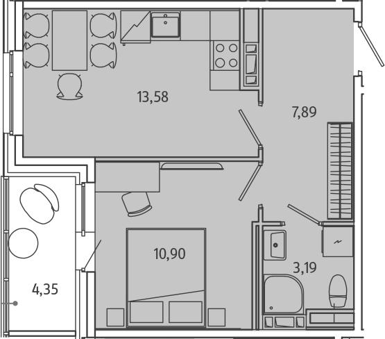 1-комнатная, 37.62 м²– 2