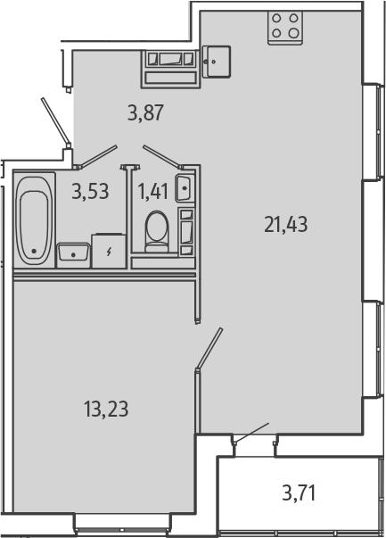 2Е-комнатная, 45.33 м²– 2