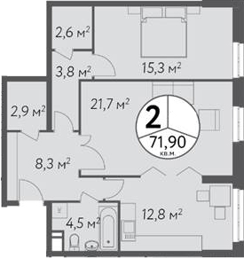 2-к.кв, 71.9 м²