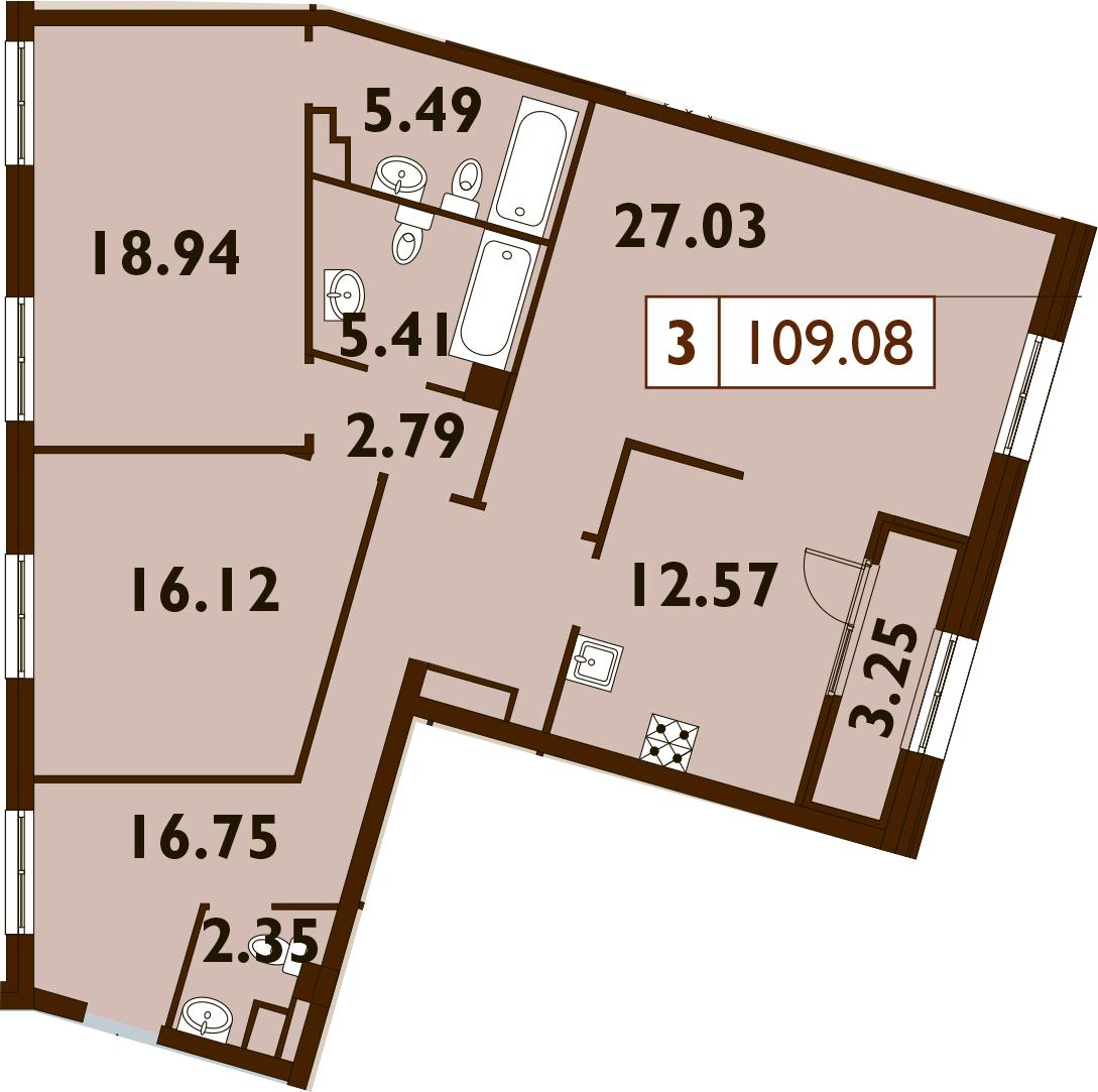 3-комнатная, 109.08 м²– 2