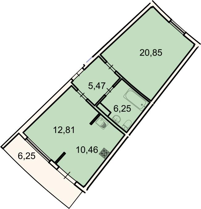 2Е-к.кв, 57.7 м², 3 этаж