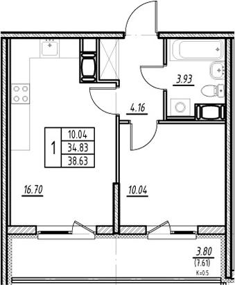 2Е-к.кв, 34.83 м²