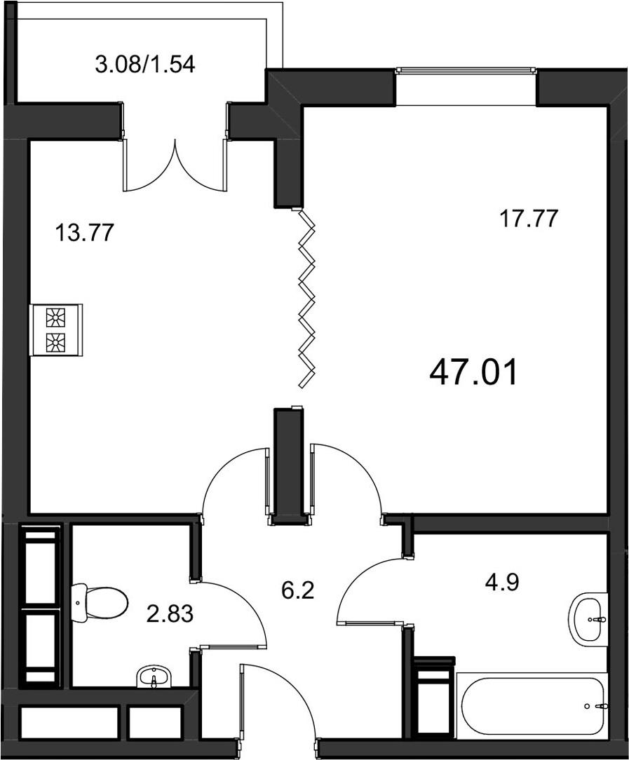 1-к.кв, 47.01 м²