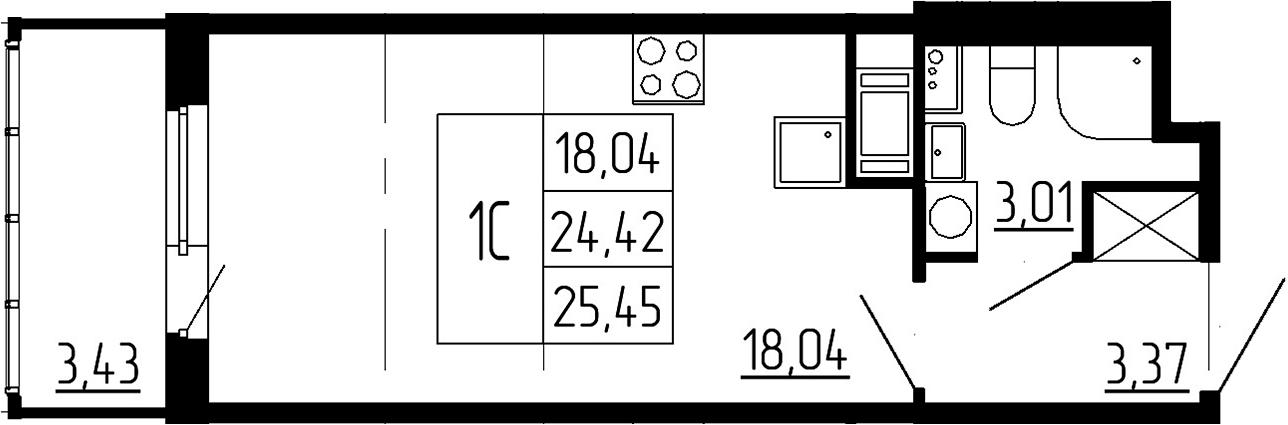 Студия, 24.42 м²– 2