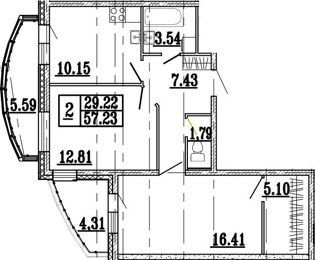 2-к.кв, 68.58 м²