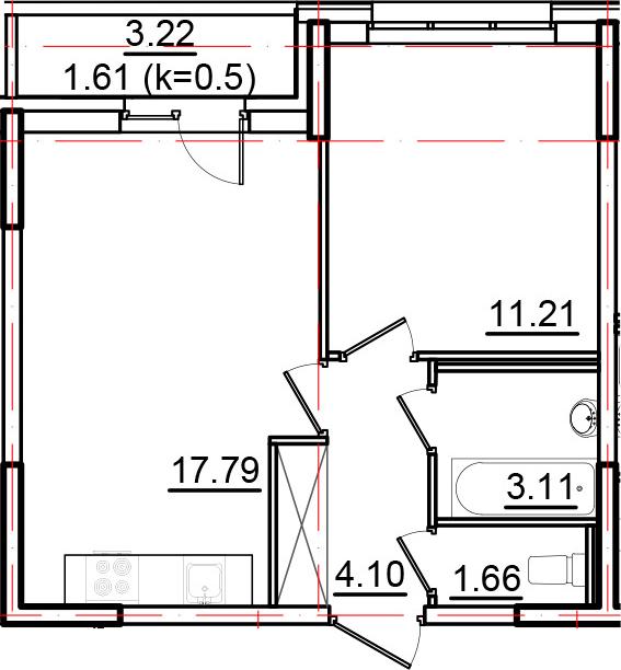 2Е-к.кв, 39.48 м²