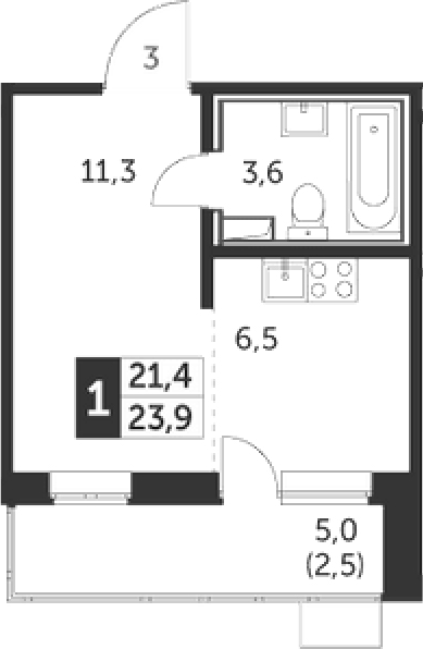 Студия, 23.9 м², 21 этаж