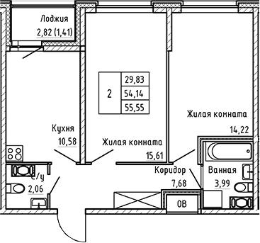2-к.кв, 55.55 м², от 6 этажа