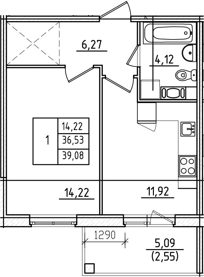 1-комнатная, 39.08 м²– 2