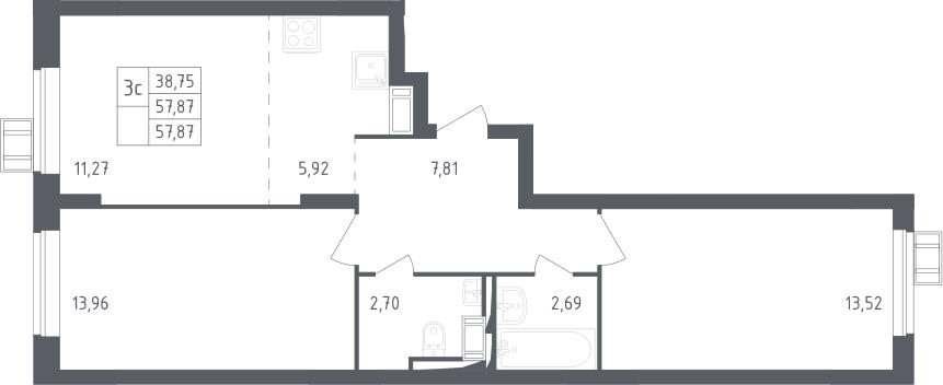 3Е-к.кв, 57.87 м², 8 этаж