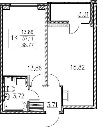 2Е-комнатная, 38.77 м²– 2