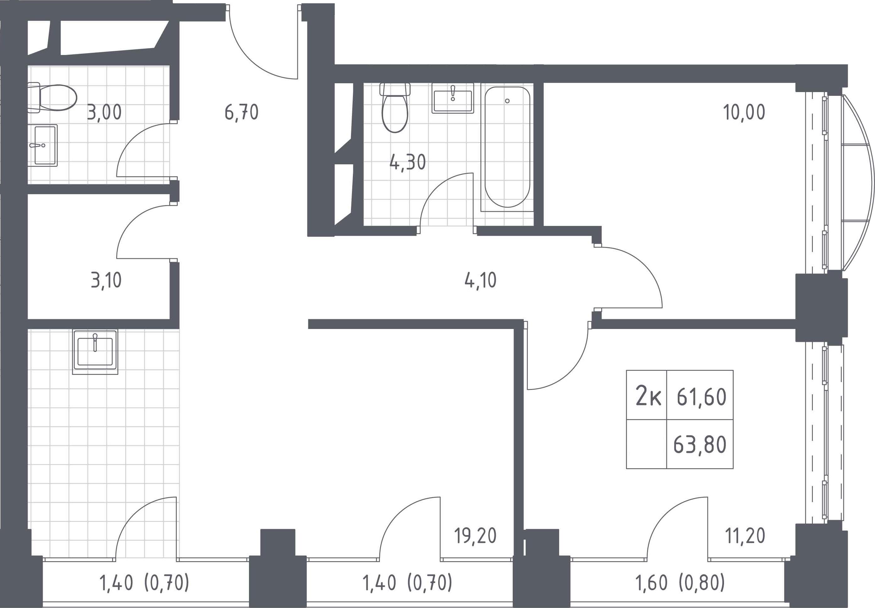 3-к.кв (евро), 66 м²