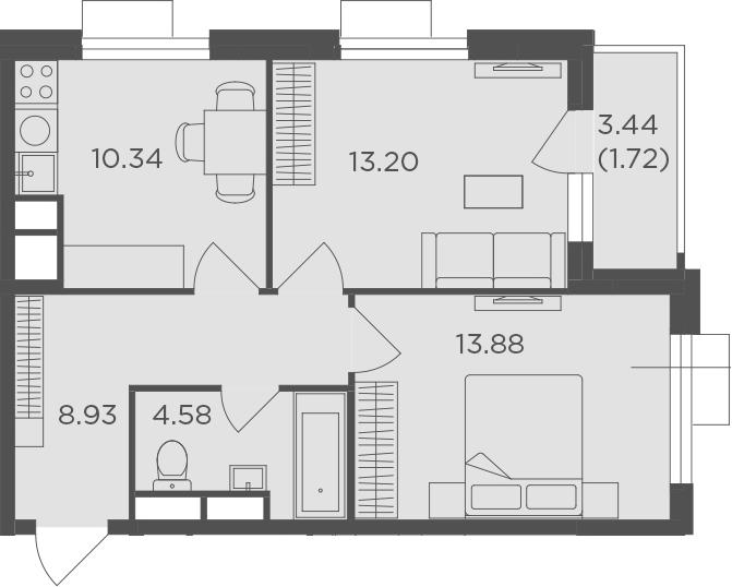 2-к.кв, 52.65 м², от 14 этажа