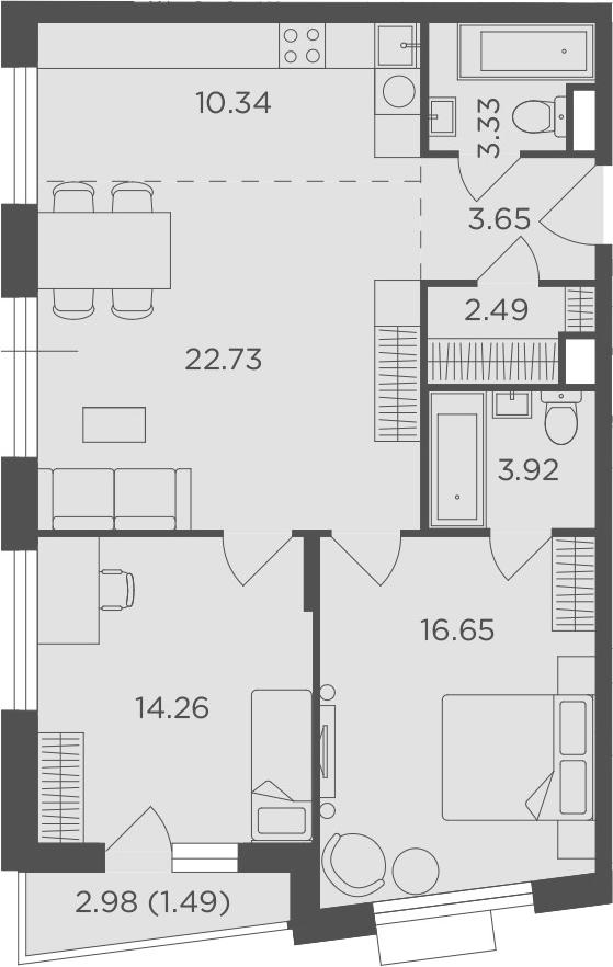 3-к.кв (евро), 80.35 м²