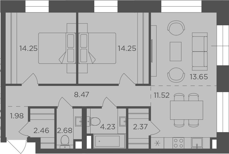 3-к.кв (евро), 75.86 м²