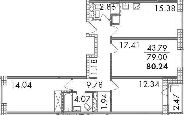 3-к.кв, 80.24 м²