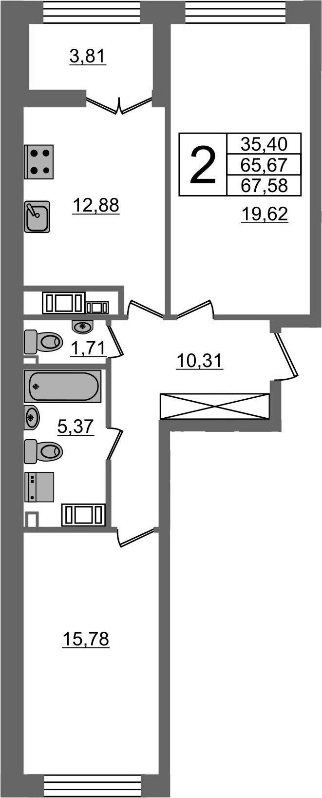 2-к.кв, 65.67 м²
