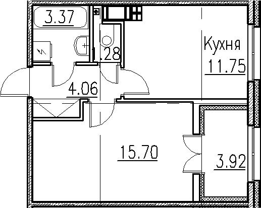 1-к.кв, 40.08 м²