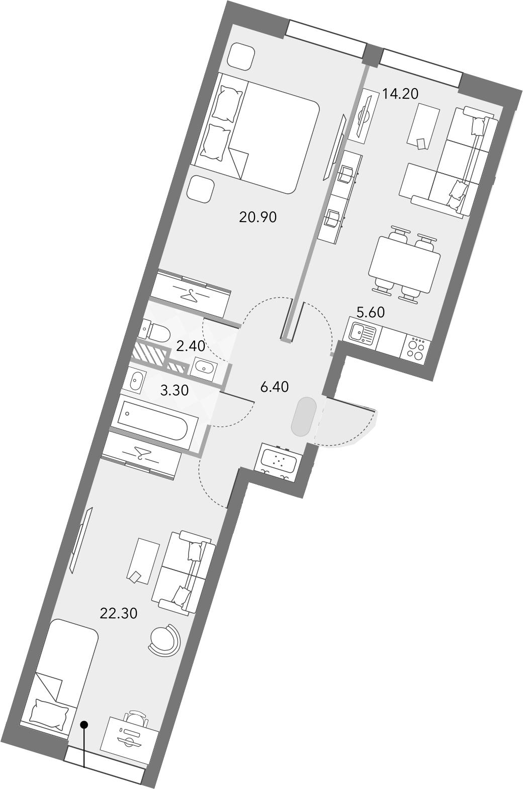 3Е-комнатная, 75.1 м²– 2