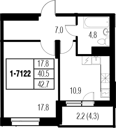 1-к.кв, 44.9 м²
