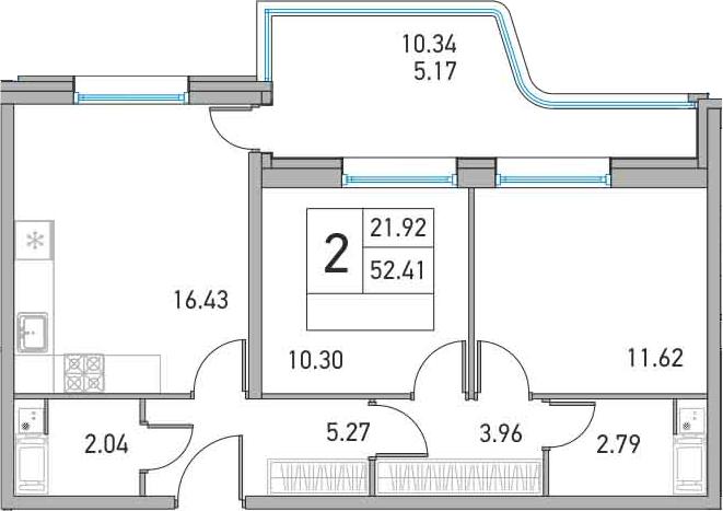3-к.кв (евро), 62.75 м²