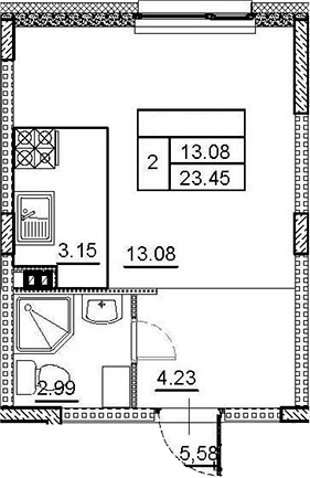 Студия, 23.45 м²– 2