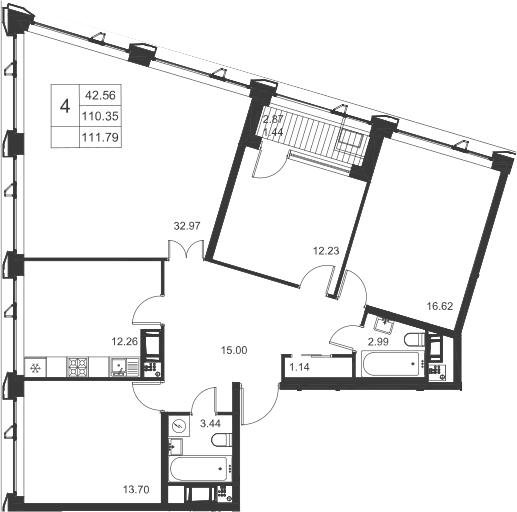 4-к.кв, 113.23 м²