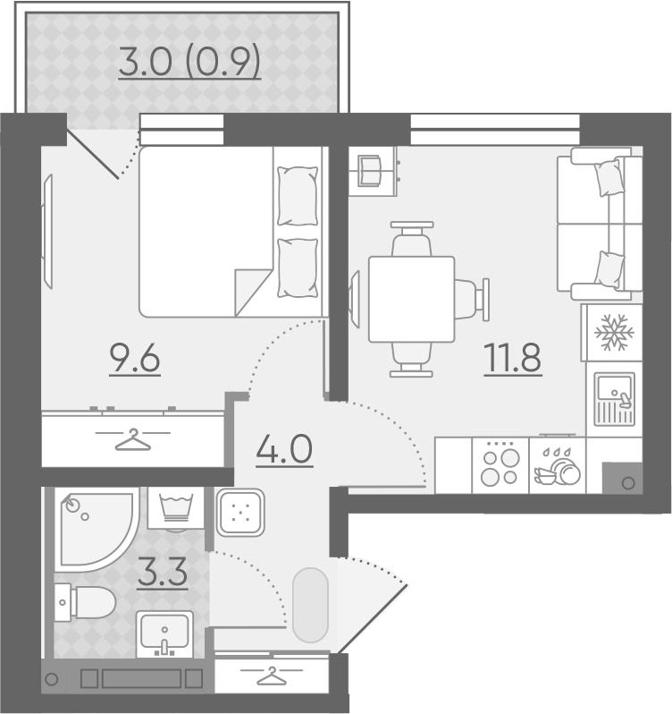 1-к.кв, 29.6 м²