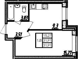 1-комнатная, 31.91 м²– 2