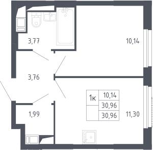 1-к.кв, 30.96 м², 10 этаж
