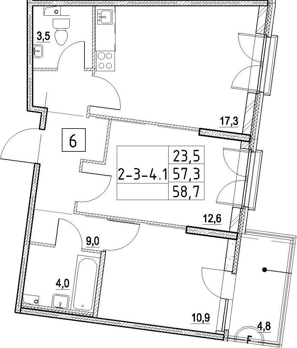 3Е-к.кв, 58.7 м²